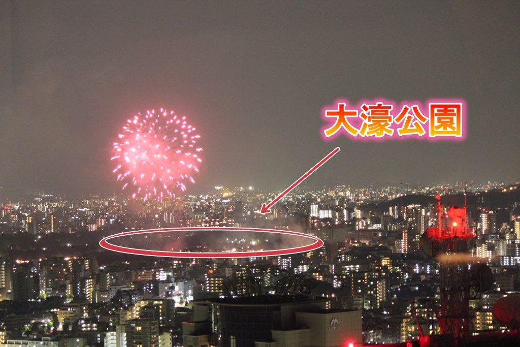 福岡タワーから大濠公園花火大会