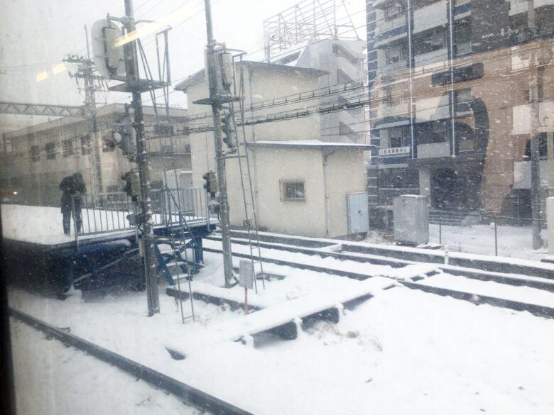西鉄天神大牟田線 大雪の車窓