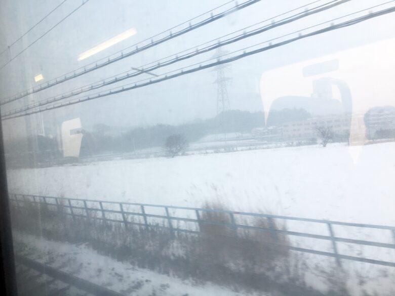 西鉄大牟田線 大雪の車窓
